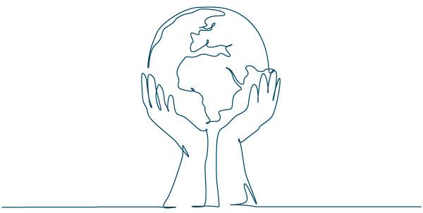 World in human hands illutsration